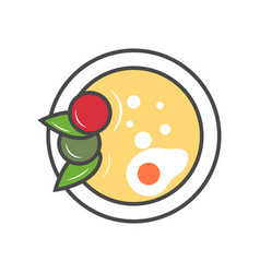 Asian soup in plate isolated icon vector