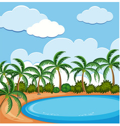 Background scene with coconut trees on the beach vector