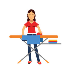 Beautiful young brunette woman ironing clothes on vector