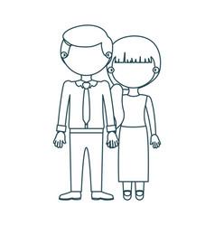 Blue contour faceless couple woman with side vector