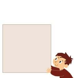 Boy holding noticeboard vector
