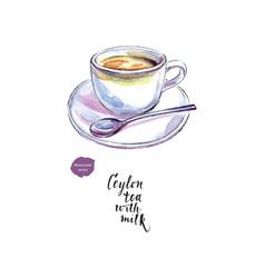 Ceramic cup of ceylon tea with milk watercolor vector