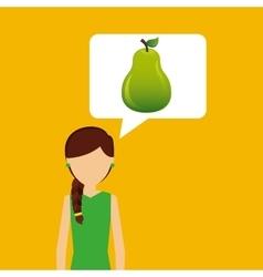 Character shopper pear fruit vector