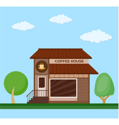 Coffee house front view flat icon vector