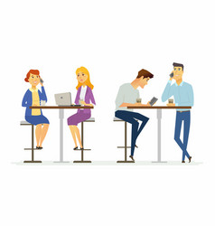 collegues on a lunch break - modern cartoon people vector image vector image