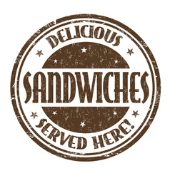 delicious sandwiches sign or stamp vector image