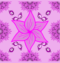 flowers on pink magenta and neutral colors vector image