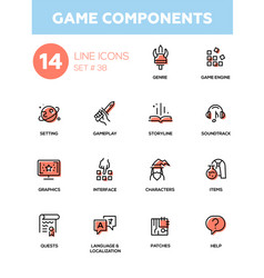 Game components - modern single line icons vector