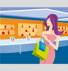 girl in shop vector image