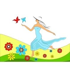 girl runs across a meadow vector image vector image