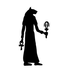 god bastet cat egyptian silhouette ancient egypt vector image