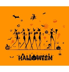 Halloween holiday young witches for your design vector image vector image
