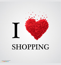 I love shopping heart sign vector