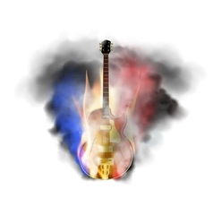 Jazz guitar in smoke and fire vector