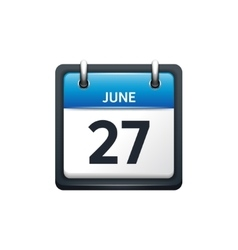 June 27 calendar icon flat vector