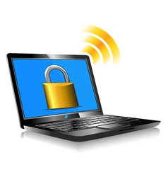 Laptop Protection Padlock vector image