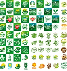 large set of logos for natural products vector image vector image