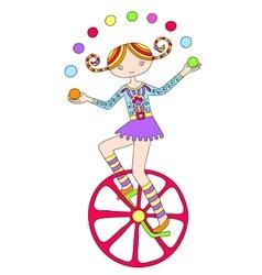 Line art drawing of circus theme - teenage girl vector