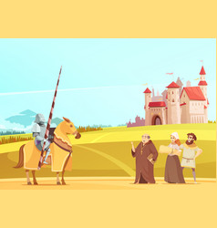 Medieval life scene cartoon poster vector