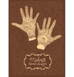 Mehndi hand design vector