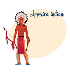 native american indian man in feather headdress vector image