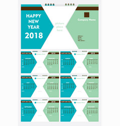 new year 2018 calendar template design vector image