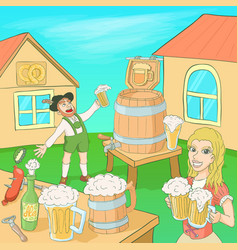 octoberfest concept cartoon style vector image