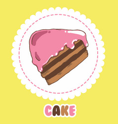 piece of chocolate cake with pink icing cake icon vector image vector image