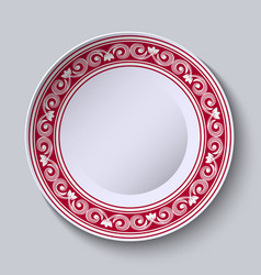 Plate with red ornamental border design template vector
