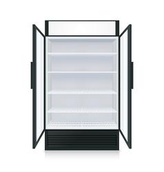 Realistic empty commercial fridge vector