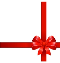 Red gift bow with ribbons vector image vector image