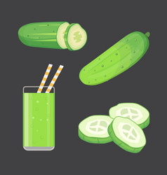 Set fresh cucumber sliced and isolated vector
