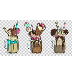 set of delicious desserts with some toppings vector image vector image