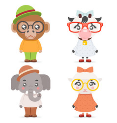 Sheep cow monkey ape elephant cute animal boy girl vector