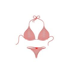 Striped bikini suit in red and white design vector image vector image