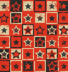 vintage star seamless pattern with grunge effect vector image