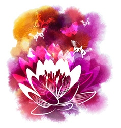 Watercolor drawing of lilies and butterflies vector