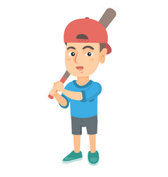 young caucasian boy playing baseball vector image