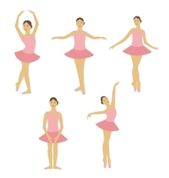 Young little ballerina dancing set vector