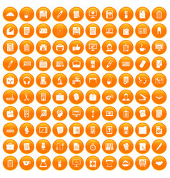 100 office icons set orange vector