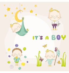 Set of baby boy - for baby shower or arrival card vector