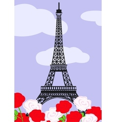 Eiffel tower with red and white roses vector image