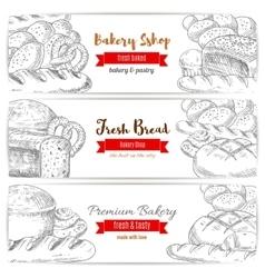 Anadama bread and baguette sketch banner vector