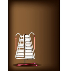 A musical bell lyra on dark brown background vector