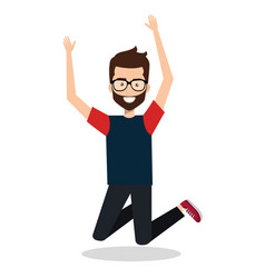 Man celebrating with a leap vector