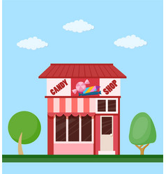 Candy shop front view flat icon vector
