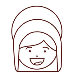 Brown silhouette of face saint virgin mary vector