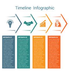 Timeline infographic 4 color arrows vector