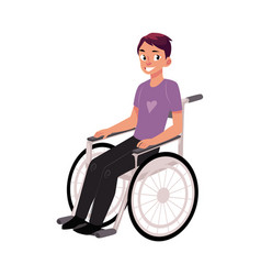 Young man sitting in wheelchair rehabilitation vector
