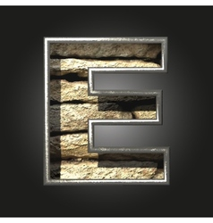 Old stone letter e vector